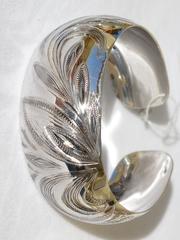 Плума-широкий (серебряный браслет)