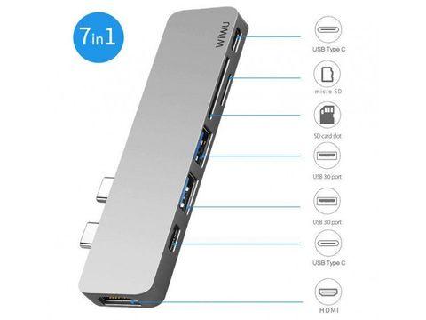 Переходник adapter USB Type C 7in1Wiwu T8 /silver/