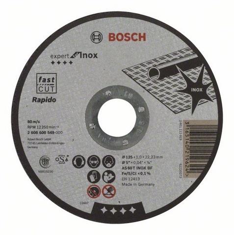 Отрезной круг Bosch Expert for INOX 125x1 мм прямой 2608600549