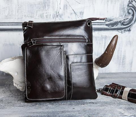Красивая мужская сумка из кожи с ремнем на плечо