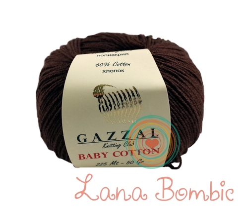 Пряжа Gazzal Baby Cotton 3436 шоколад