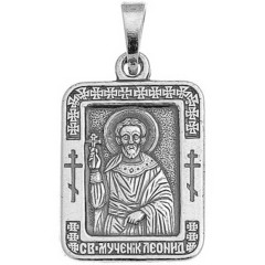Святой Леонид. Нательная икона посеребренная.