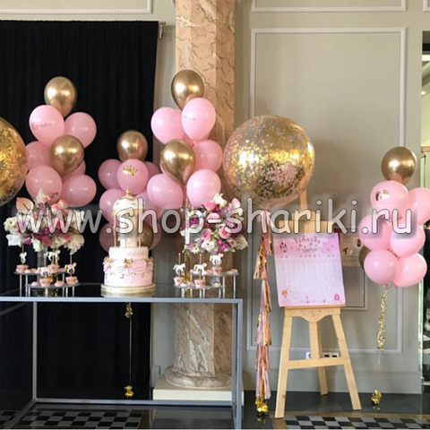 шары золотые и розовые