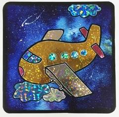 Золотой самолет-аппликация цветной фольгой, MH004