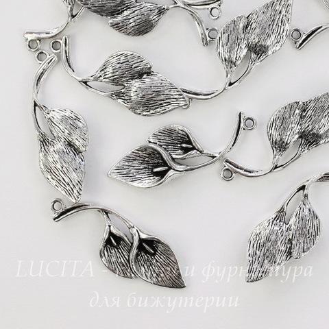 "Подвеска ""Две Каллы"" 38х14 мм (цвет - античное серебро)"