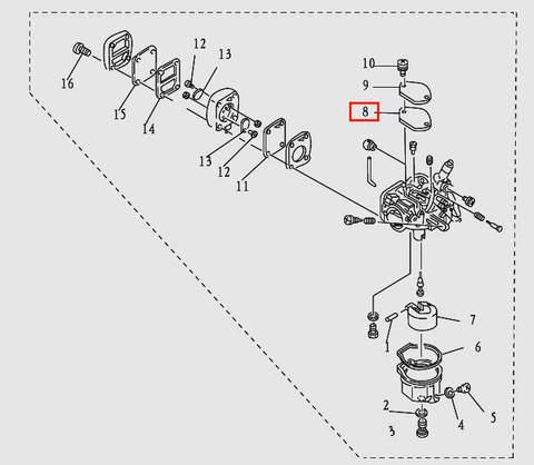Прокладка карбюратора для лодочного мотора T9.8 Sea-PRO (5-8)