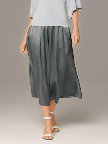Женская юбка темно-серого цвета из 100% шелка - фото 2