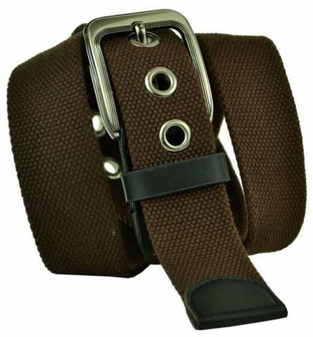 Прочный текстильный джинсовый мужской ремень коричневый из стропы 4 см 40Stropa-057
