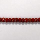 Бусина из яшмы красной, фигурная, 4x6 мм (рондель, граненая)