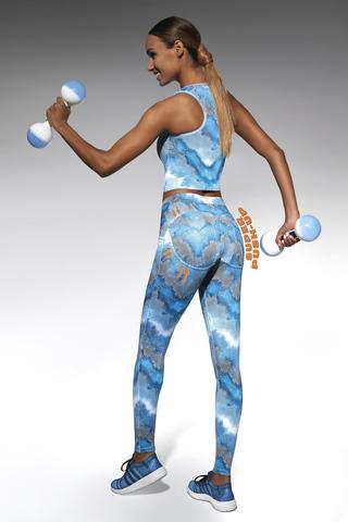 Голубые легинсы push-up для фитнеса 200 den