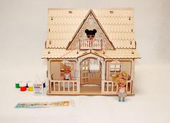 Кукольный Домик Country house с набором для раскрашивания и клеем