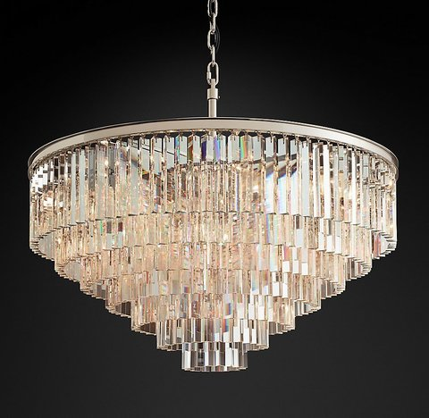 1920s Odeon Clear Glass Fringe 7-Tier Chandelier