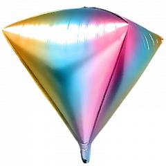 Шар (41''/104 см) Алмаз, Нежная радуга (градиент), 1 шт.