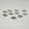 Бусина металлическая - рондель Снежинка (цвет - античное серебро) 8х2 мм, 10 штук