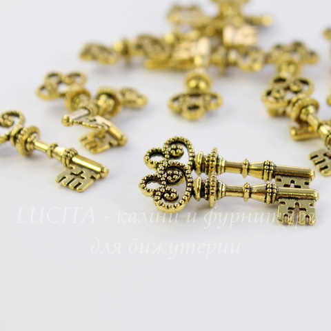 """Подвеска """"Ключ"""" 31х12 мм (цвет - античное золото)"""