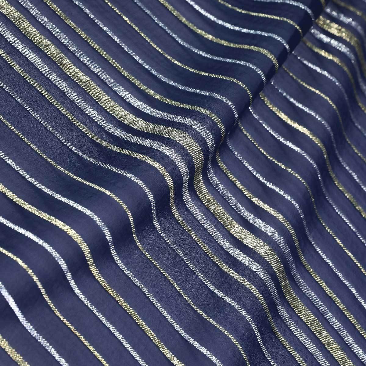 Темно-синий шелковый шифон в металлизированную полоску
