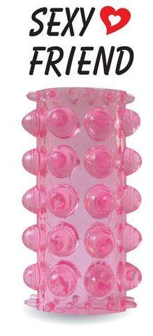 Открытая розовая насадка на фаллос - 6,4 см.