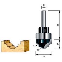 Классическая погружная фреза с хвостовым подшипником 22*40*12,7*8 мм; R1=3,97 мм; R2=5,55 мм