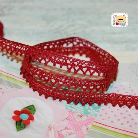 Кружево вязаное КХ6-ТК (бордовое) 90 см