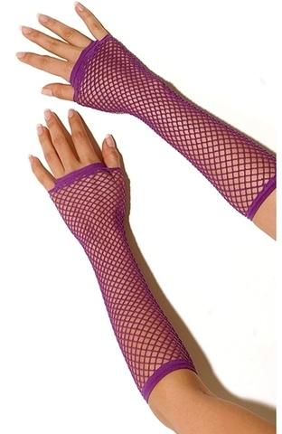 Длинные перчатки в сеточку без пальцев (фиолетовые)