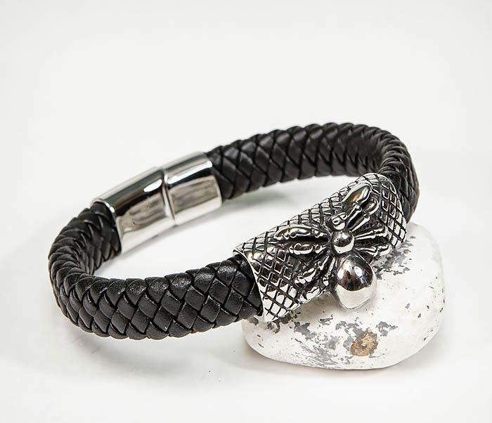 BM587 Мужской браслет «Паук» из плетеной кожи фото 05