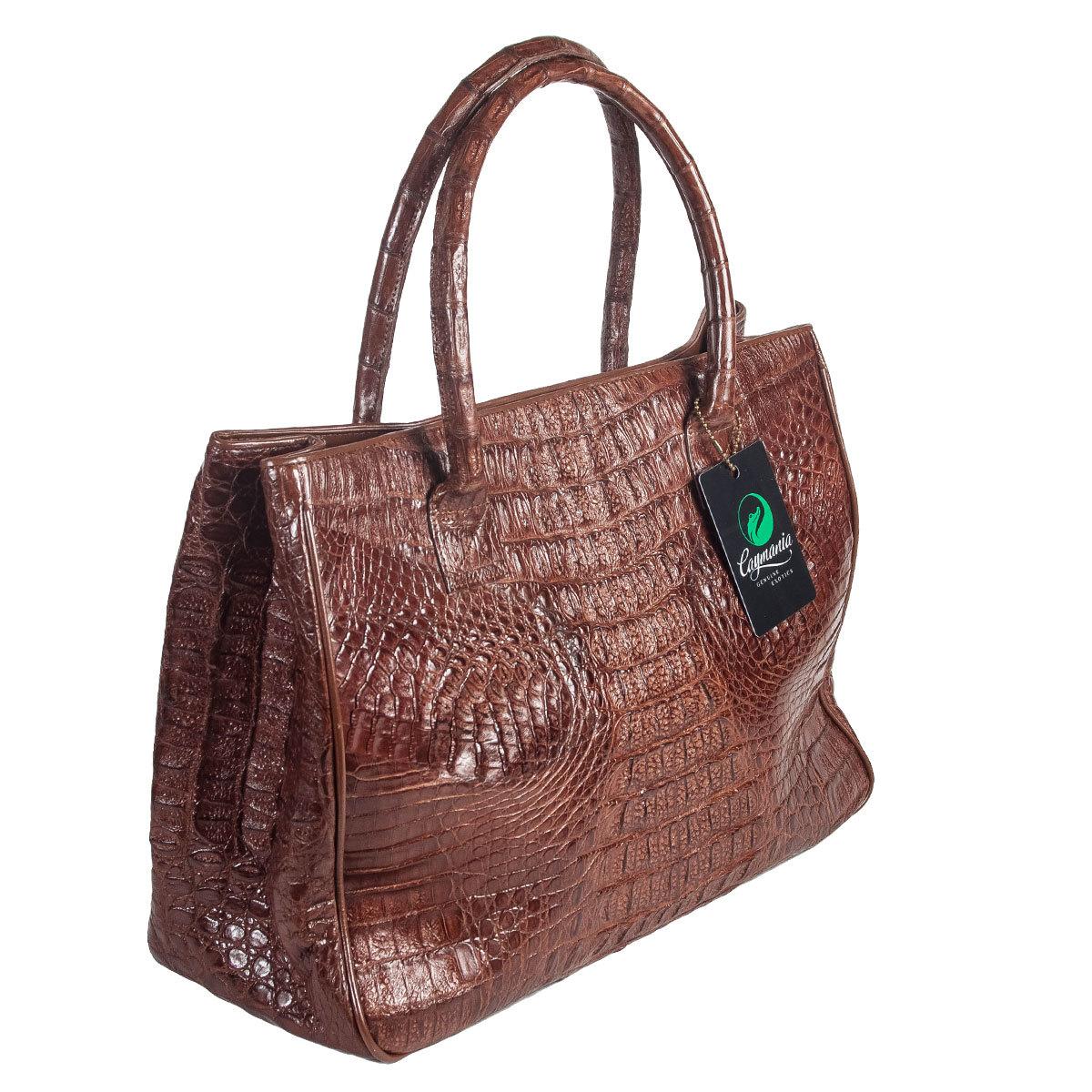 880ad5e52956 Женская сумка из кожи крокодила коричневая | Артикул: WHC7134BR