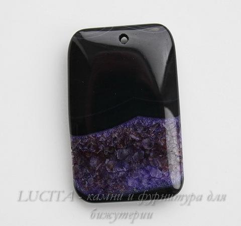 Подвеска Агат с Кварцем (цвет - черный+фиолетовый) 57х36х9 мм ()