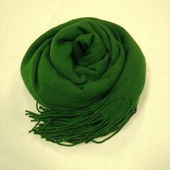 Кашемировый однотонный зелёный палантин (34) фото 1