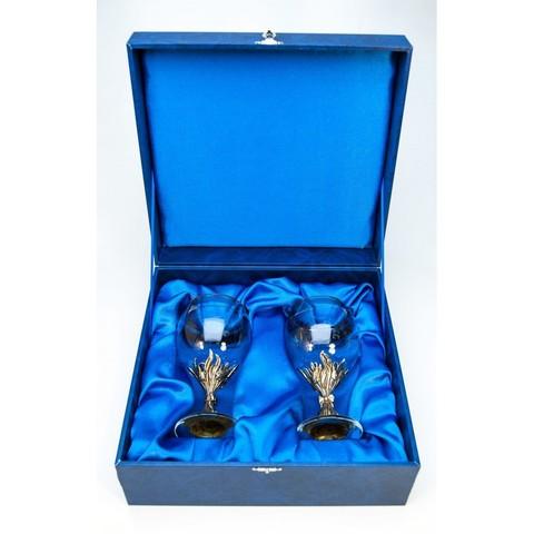 Набор бокалов 2шт. для  вина Первоцвет  в синей коробке