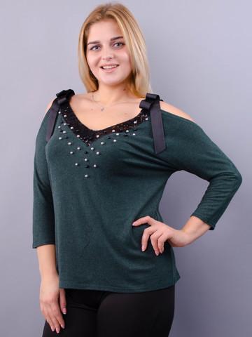 Фенікс. Оригінальна блуза для великих розмірів. Смарагд.