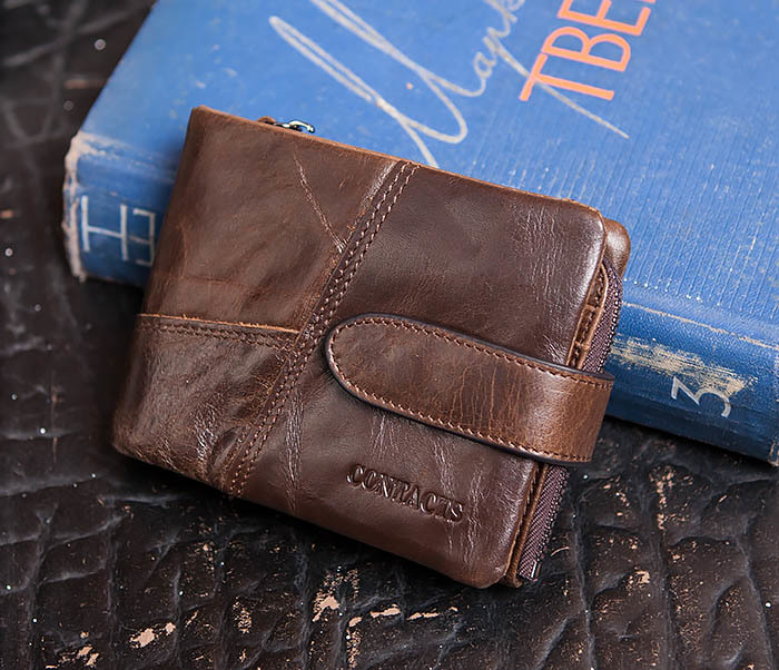 WL253-2 Мужское портмоне на застежке из натуральной кожи