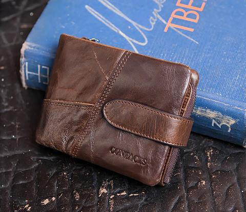 Мужское портмоне на застежке из натуральной кожи