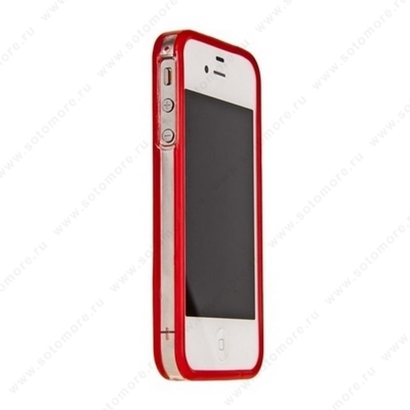 Бампер GRIFFIN для iPhone 4s/ 4 красный с прозрачной полосой