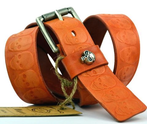 Мужской кожаный ремень с черепами 40Mayer-050