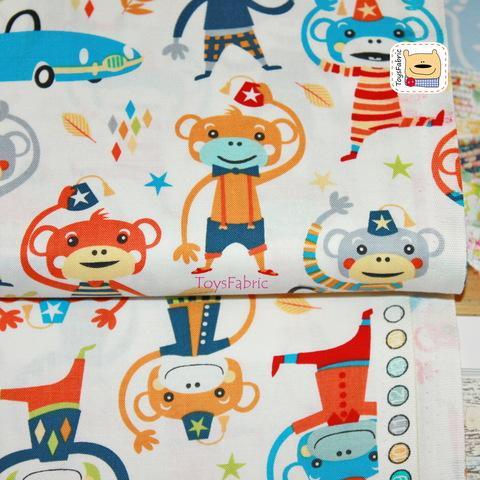 Ткань для пэчворка 20946 (обезьяны на белом) 45х55см