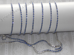 Цепь стразовая ss10 голубые камни на серебре