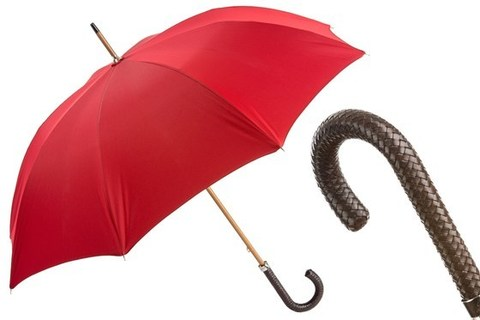 Зонт-трость Pasotti Gent Umbrella with Braided Leather Handle, Италия