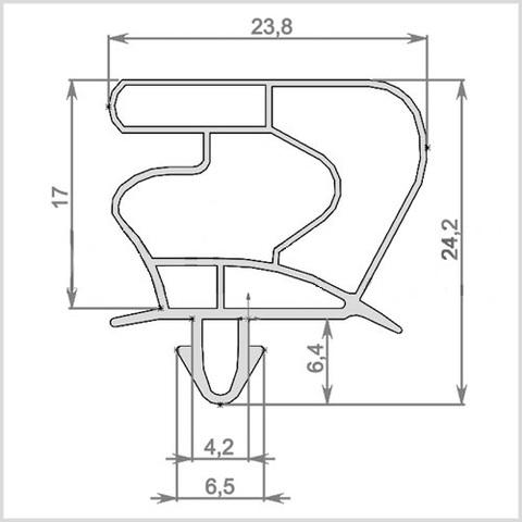 Уплотнитель 156,8*76 см для холодильного шкафа Ариада R700MS (стеклянная дверь) профиль 023