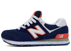 Кроссовки Женские New Balance 574 Navy Suede White Orange