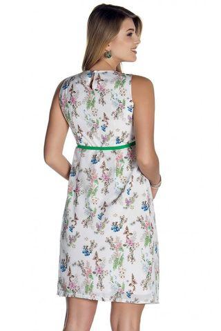 Платье 08480 белый/принт цветы