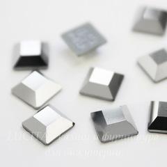 2400 Стразы Сваровски горячей фиксации квадратные Crystal Light Chrome (6 мм)