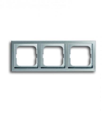 Рамка на 3 поста. Цвет Нержавеющая сталь. ABB(АББ). Pure Сталь(Пьёр Сталь). 1754-0-4319