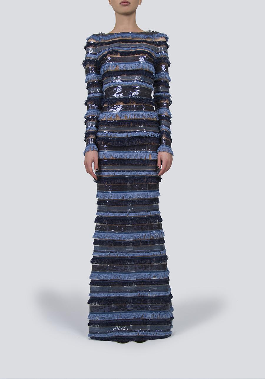 Платье-макси в сине-голубую полоску с бахромой