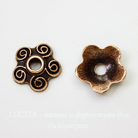 "Шапочка для бусины ""5 завитков""(цвет - античная медь) 10х4 мм , 10 штук"