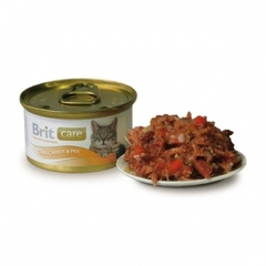 Консервы для кошек, Brit Care тунец, с морковью и горошком