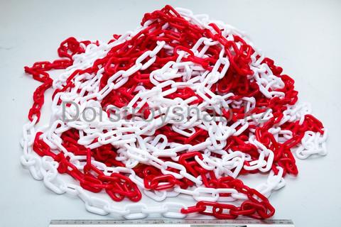 Цепь оградительная пластиковая красно/белая 8мм (DSS)