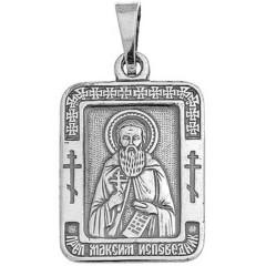 Святой Максим. Нательная икона посеребренная.