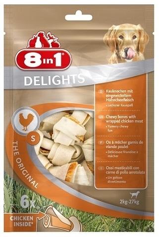 Лакомства Лакомство для собак, 8in1 DELIGHTS Beef S, косточки с куриным мясом для мелких и средних собак, 11 см 6 шт (пакет) 102564.jpg