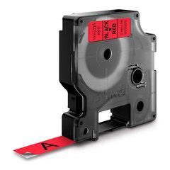 Картридж DYMO с лентой 12 мм х 7 м, пластик черный на красной ленте