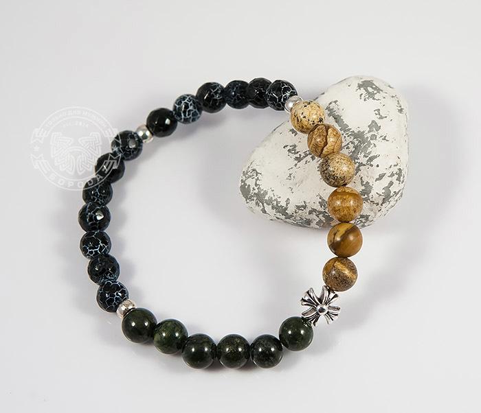 BS731-1 Яркий мужской браслет из разных камней ручной работы фото 03